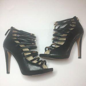 Nine West black & gold strapped heels 6.5